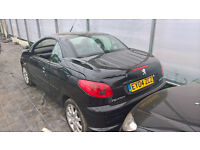 breaking black peugeot 206 cabriolet with working roof all parts working