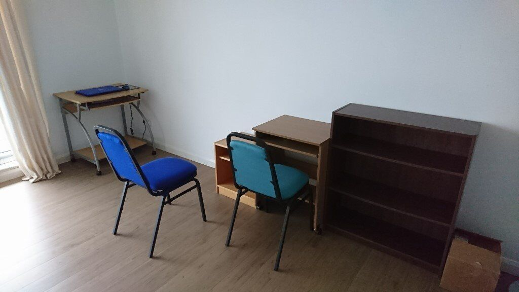 Computer desks, bookcases, cabinets, chairs