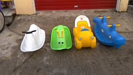 Selection of Little Tikes single and double rockers.