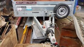 Trailer with twin axle, galvanised and with spare wheel
