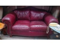 Quality ox blood red leather sofa and armchair