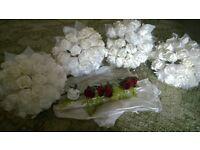 White bride/bridesmaid bouquets/buttonholes