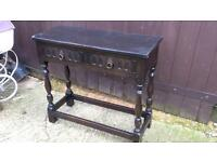 Dark wood console hall table