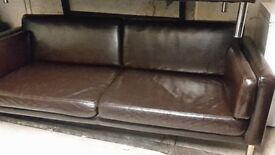 2 large modern faux leather brown sofas (P.U)