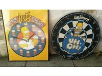 Simpsons double sided dartboard and picture