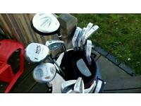 Full set of golf clubs, bag, balls, trolley etc