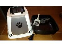 Cat Litter Tray Box With Door Flap + 2 Litter Scoops