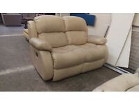 Cream leather 2 seater recliner with 2 reclining armchair set