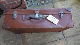 Vintage Large Brown Suitcase Made in England Wedding Prop Shop Display