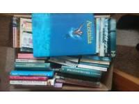 2 boxes of books, magazines