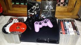 PS3 slim - 500GB comes with 2 pads and charger, and 20 games (3 not cased) £140.00