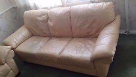 Settee Leather 3 seat, light tan colour
