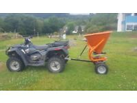 Quad 4x4 tractor towable salt spreader or fertiliser spreader