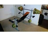 Weight bench and weights 71.5kg