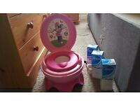 Musical minnie mouse potty& 3 sealed boxes of oilatum shower gel