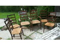 Set of 6 dining vintage antique rush-seat dining chairs, including 2 carvers