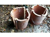 Old garden chimney pot planters.