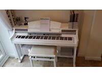 White High Gloss DP50 Digital Piano (88 Touch Keyboard) and Matching Adjustable Stool