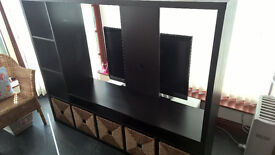 Ikea TV Unit - Lappland in Black/Brown with Rattan Storage Cubes