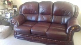 Leather Sofa & Two Chairs