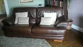 Italian chocolate brown leather sofa
