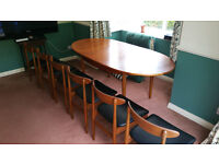 Rare 1960s Vintage Retro Extendable Dining Table and 6 Chairs (Possible G Plan )