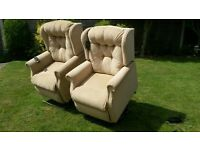 Pair of rise and recline chairs. Free delivery Clacton