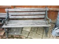 Teak and cast iron garden bench