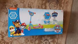 Unopened Paw Patrol 3 wheeled Scooter