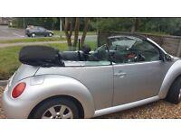 VW Beetle cabriolet 2 ltr petrol 2003 03 plate. Silver, black hood, black leather, winter pack