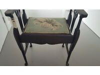 1920's Wooden Piano Stool with original upholstered seat cover