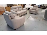 CRESSIDA GREY LEATHER 3 SEATER SOFA & 2 ARMCHAIRS ***CAN DELIVER***