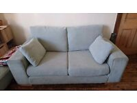Duck egg 3 & 2 seater sofas with footstool