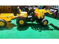 JCB ride on digger with trailer
