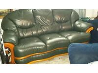 Italian Dark Green Soft Leather 2 and 3 Seater