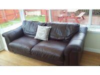 Brown leather sofa three seater