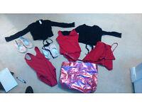 Ballet bag, ballet leotards, ballet wrap cardigans, ballet shoes and ballet wrap skirt