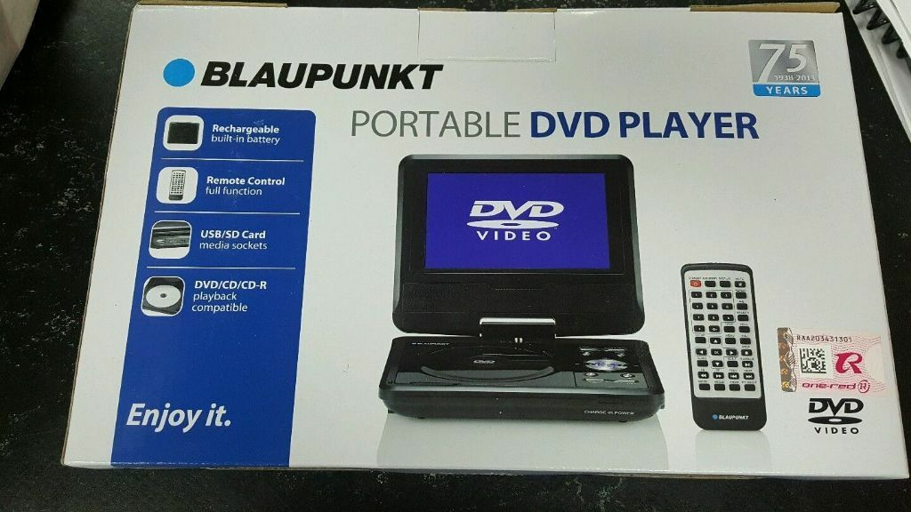 brand new still boxed blaupunkt portable dvd player with 7. Black Bedroom Furniture Sets. Home Design Ideas