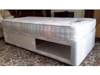 Single divan bed with storage and mattress almost new seldom used