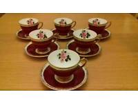 New condition lovely set of red windsor cups and saucer