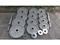 38KG GOLDS GYM CAST IRON DUMBBELL WEIGHTS SET
