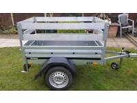 Brenderup 1150s car trailer with alurails extensions.