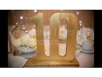 Large Gold Wooden Table Number Centre Pieces Ideal For Wedding