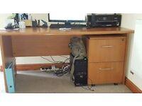 Desk - 2 Drawer Cabinet & Book Shelf