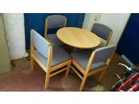 Dining Table & Chairs - Round Wooden Top Table and Wood & Fabric Frame Chairs