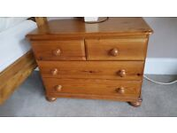 2 x pine bedside tables with 4 drawers, used but perfectly functional
