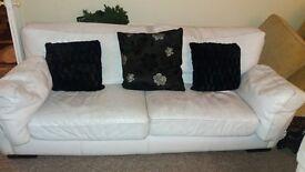 3+2 White Leather Sofa