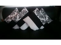 Set of 4 Jacquard Black & White Pillow Cases With Pillows