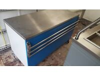 stainless steel table with under storage and 2 power points