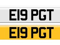 Bargain Cheap E19 PGT private cherished private personalised Registration plate number